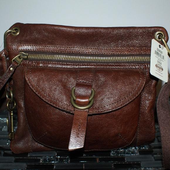88b2900e19e91 NWT Fossil Sasha Crossbody Brown Bag